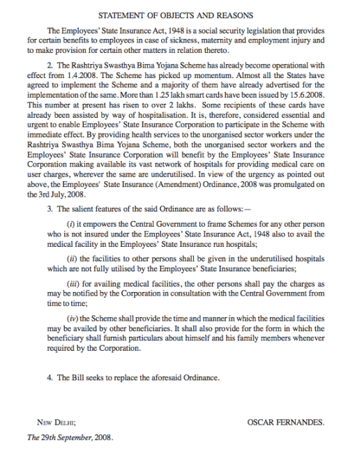 Statement of Objects and Reasons that accompanied the Amendment Bill of 2008